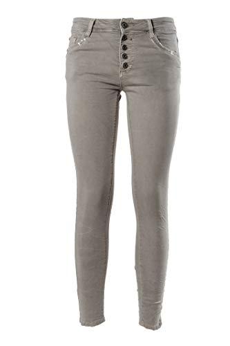 JOPHY & CO. Pantalone Jeans Denim Donna Cinque Tasche con Rifiniture Decorate in Cotone Elasticizzato (cod.1053) (Grigio, M)