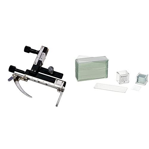 Bresser Mikroskop Kreuztisch (geeignet für Mikroskope der Bresser Junior-Serie) & Mikroskop Objektträger/Deckgläser (50x/100x) mit geschliffenen Kanten zur Erstellung von biologischen Präparaten