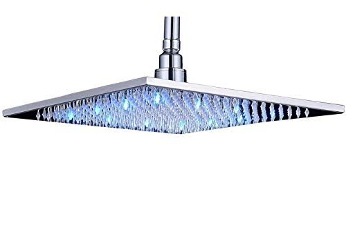 Rozin Chrome Finish LED Colors 12 Inches Top Shower Head C...