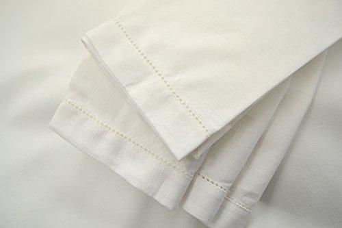Hemstitch Dinner Napkins White 1 Dozen by Something Different Linen