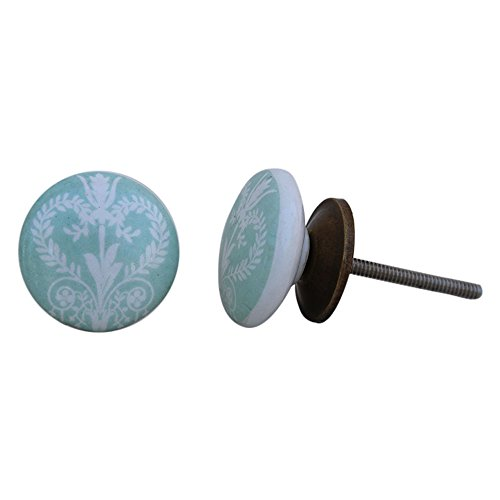 10 piezas de cerámica artesanal Indianshelf verde salvia Veronica Flor Flat Cajonera Aparador pomos puertas armario tira Vitrina de nuevo en línea