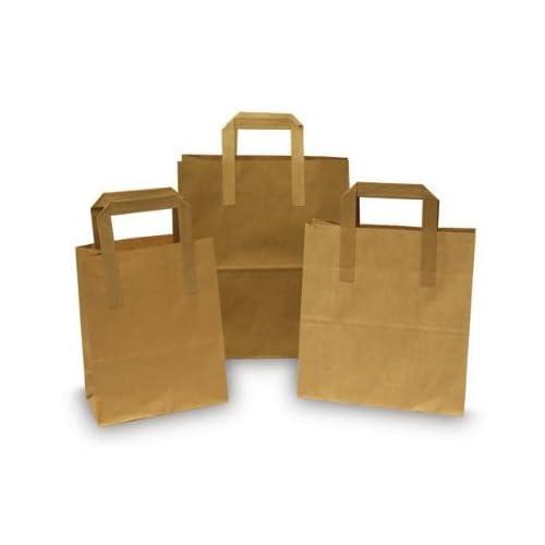 d7c1ddbd85b 50 x Brown Paper Food   Takeaway   Party Bags with Flat Handles - 7