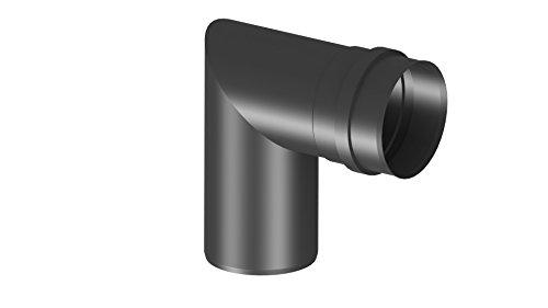 Pelletrohr Kniewinkel mit 90°, Ø 100mm, Edelstahl schwarz lackiert