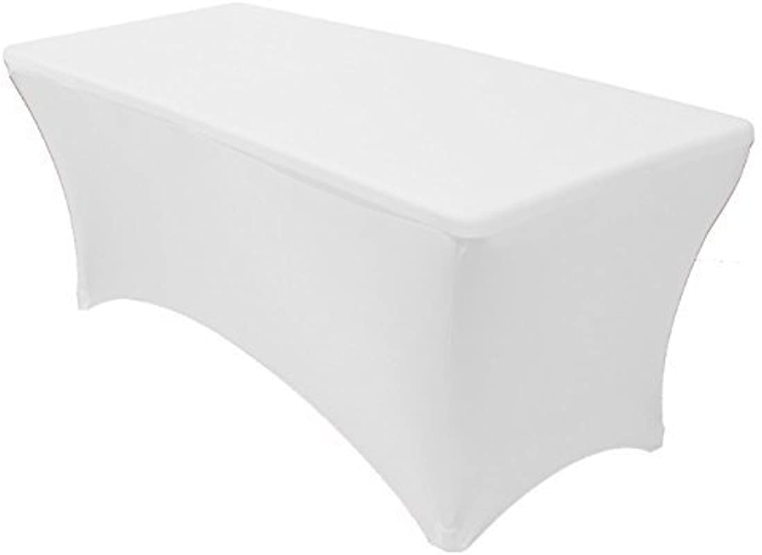 Adorox 4 Ft White Stretch Fabric Spandex Tight Fit Table Cloth Cover For Hoildays 4 Ft White