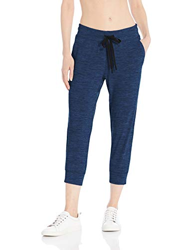 Amazon Essentials Brushed Tech Stretch Crop Jogger Pants, Navy Spacedye, L