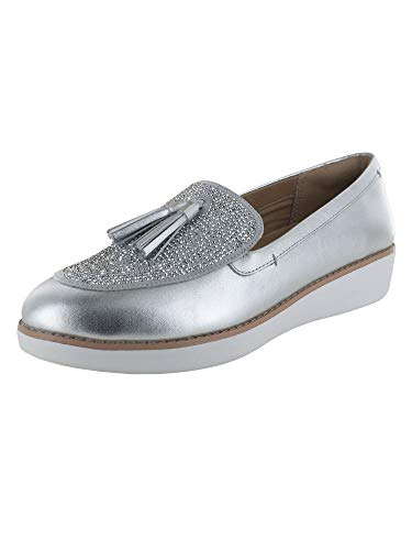 FitFlop Womens Paige/Petrina Crystalglitz Tassel Loafer Shoes, Silver, US 6.5
