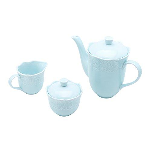 Conjunto 3 Peças para Chá e Café de Porcelana Princess Lyor Azul