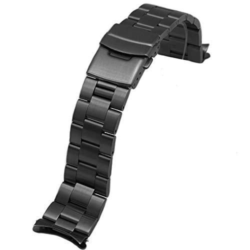 Juntan Correa Reloj 22mm Extremos Curvos Correas Repuesto para Mujeres Hombres Banda Reloj Metal Cierre Despliegue Acero Inoxidable Negro