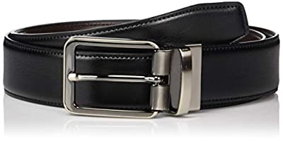 Perry Ellis Men's Portfolio Gunmetal Buckle Reversible Belt, black/Brown, 34