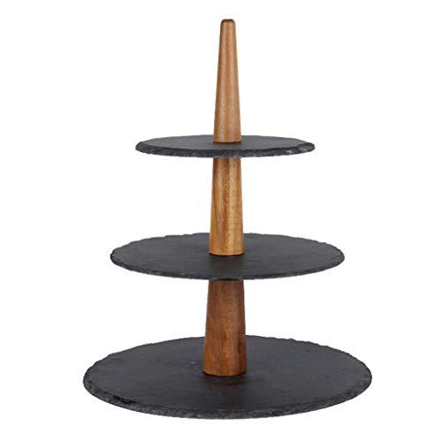 Soporte para tartas de cerámica con forma de brocheta de roca, mesa de postre, plato de postre de tres capas, plato de fruta creativo, estante de té de la tarde (color: negro)