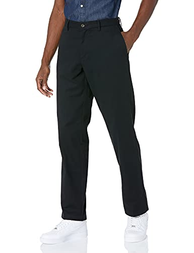 Amazon Essentials Classic-Fit Wrinkle-Resistant Flat-Front Chino Pant Slip, Noir (True Black), W40/L34 (Taille fabricant: 40W x 34L)