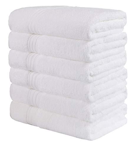 GraceAier Toallas de Mano Grandes de algodón (Blanco, Paquete de 6, 40 x 72 cm) - Uso multipropósito para baño, Manos, Cara, Gimnasio y SPA Towels