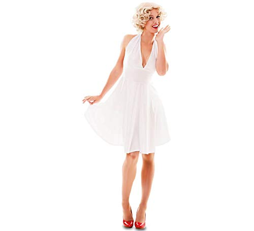 EUROCARNAVALES Damen Kostüm Hollywood Diva Marilyn Kleid weiß Filmstar Karneval (46)