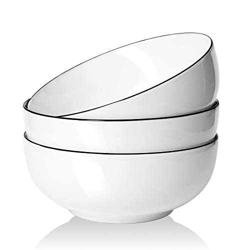 AnBnCn Salad Soup 3-Pack-65 Oz Super Large Stackable Round White Fine Porcelain Cereal Pasta Bowl-Sets