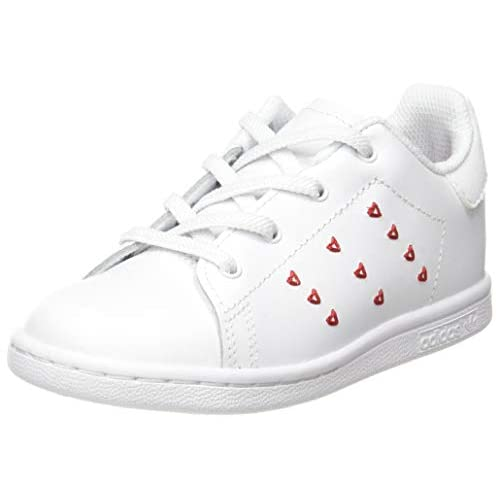 adidas Stan Smith El I, Scarpe da Ginnastica Unisex-Bambini, Ftwr White/Ftwr White/Lush Red, 26 EU