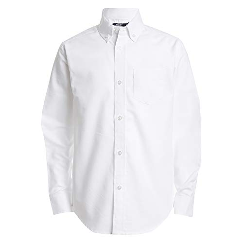 Izod boys Long Sleeve Solid Button-Down Oxford Shirt, White, 16R