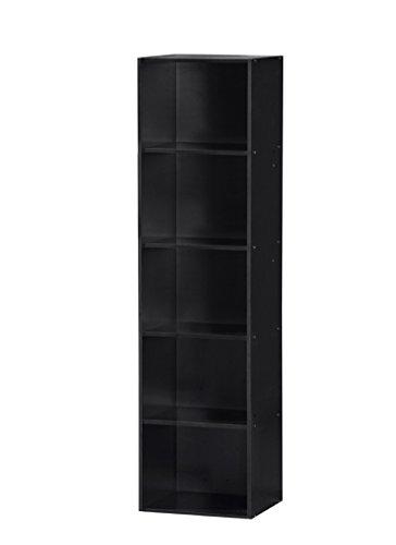 Hodedah Import 5 Shelf Bookcase, Black