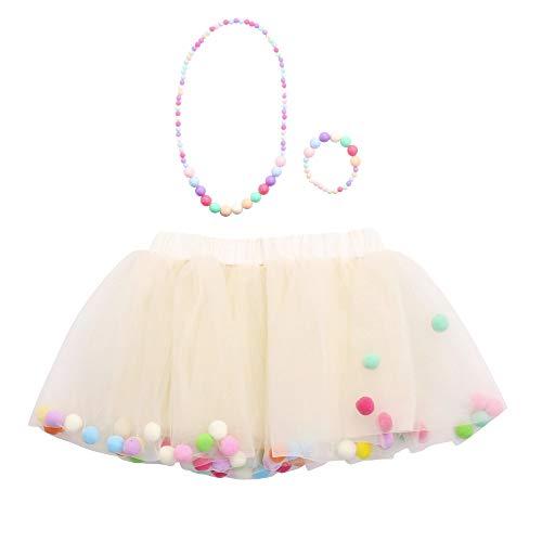 Lazzboy Ragazze/Bambina tutù Tutu Tulle Colorato Pompon Balletto Gonna Principessa Dress-up Danza Indossare for 0-10 Anni Costume Festa(2-6 Anni,Crema)