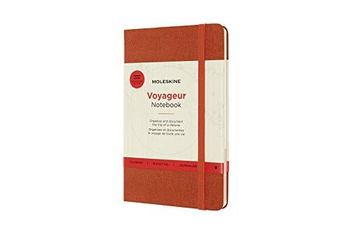 Moleskine Voyageur Notebook, Diario di Viaggio, Taccuino per Organizzare Viaggi, Copertina Rigida in Tessuto, Formato Medium 11.5 x 18 cm, Arancio Ibisco, 208 Pagine
