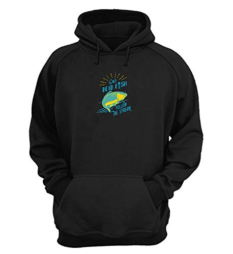 Generic Dead Fish Swim In Stream Awkward Slogan_KK016244 Hoodie Kapuzenpullover Kapuzen Novelty Design Gift Unisex Men's Women's Youth - Medium - Black