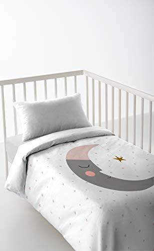 HACIENDO EL INDIO Sleeping Moon Funda Nórdica, Algodón, Blanco, Cuna (60x120)
