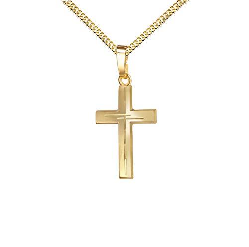 Anhänger-Kreuz mit Diamantschliff Kreuz in Kreuz Goldkreuz für Damen, Herren und Kinder als Kettenanhänger 585 Gold 14 Karat mit Schmuck-Etui und Kette
