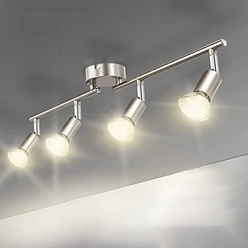 Goeco Spots de plafond à LED, plafonniers orientables à 360 ° Éclairage de spot à LED, ampoules de plafond modernes en métal GU10 à 4 têtes, IP20
