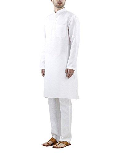 Royal Kurta Men's Linenkurta Churidar Set 44 White