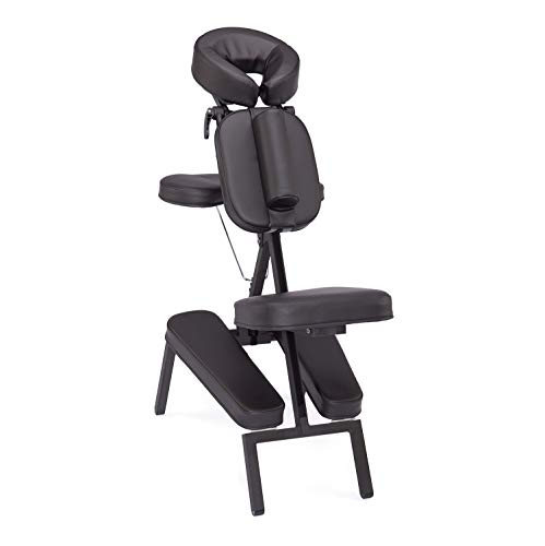TAOline VITAL Massagestuhl, klappbar, schwarz, Stuhl für mobile Massage und Shiatsu, inklusive rollbarer Tragetasche