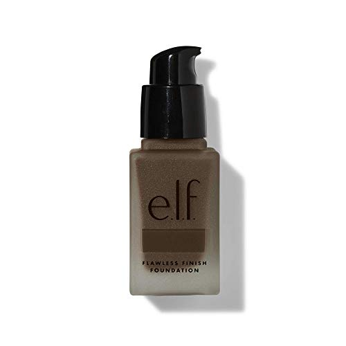 e.l.f, Flawless Finish Foundation, Lightweight, Oil-free formula, Full Coverage, Blends Naturally, Restores Uneven Skin Textures and Tones, Ebony, Semi-Matte, SPF 15, All-Day Wear, 0.68 Fl Oz