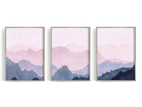 Set of 3 Mountain Watercolour Print, Reproduction, Watercolor Wall Art, Watercolor Painting (16' x 20' x 3 Prints)
