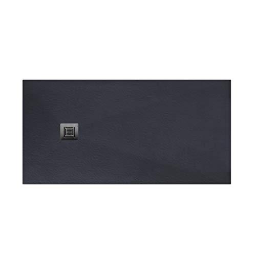 Plato de ducha rectangular de 160 x 80 x 3 centímetros, con válvula de desagüe, colección Suite N, color antracita (Referencia: 6348684)