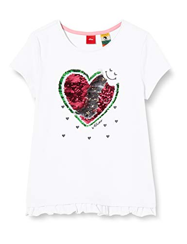 s.Oliver Junior Mädchen 403.10.005.12.130.2038508 T-Shirt, 0100 White, 116/122 REG