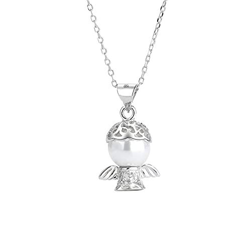 YNING Collar Femenino/Colgante de Collar de Perlas de Ángel/Plata de Ley S925 / Diseño con Incrustaciones de Perlas/Longitud de Cadena Ajustable/Regalo para Niñas, Novias, Amigos