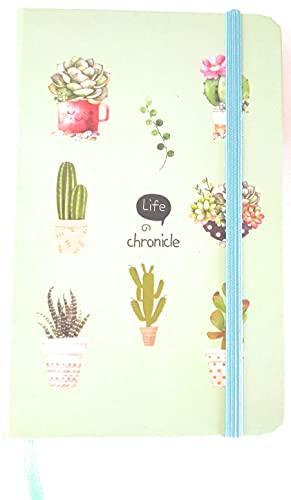 Notebook Piante Grasse - Taccuino artistico tascabile con copertina rigida e chiusura ad elastico, diario da viaggio con pagine a righe, idea regalo per amanti della scrittura (verde)