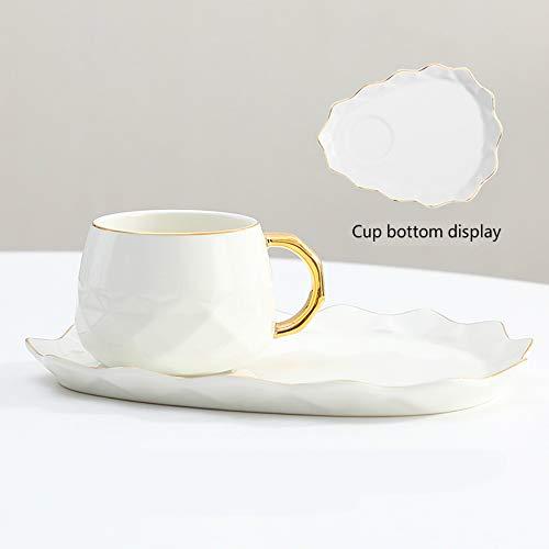 MSNLY Kreative Diamant Kaffeetasse und Untertasse Keramik Kaffeetasse Europäische Kaffeetasse und Untertasse Set Tasse mit Löffel Nachmittagstee Begleiter