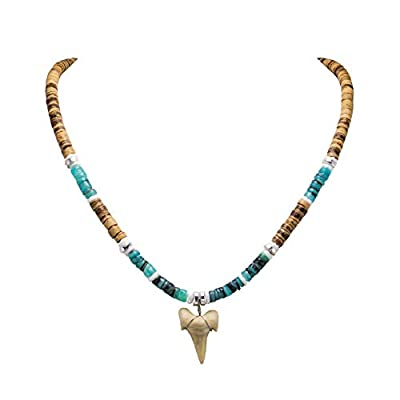 BlueRica Shark Tooth Pendant on Tiger Coconut Beads & Green Shell Beads Necklace (1S)