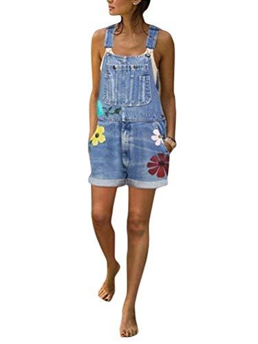 ORANDESIGNE Peto Vaquero para Mujer Mono Vaquero con Estampado de Moda con Bolsillo Vaqueros Largos Casual pantalón Denim Largo Slim Salvajes Jeans de Mezclilla
