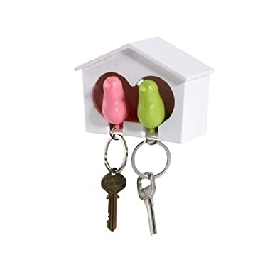 Hantier White Birdhouse with 2 Whistle Sparrow Key Ring Holder (Pink and Green)