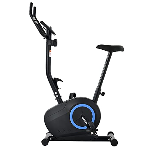 Bicicleta estática ergómetro fitness con sensores de pulso, 8 niveles de resistencia, sillín ajustable, peso del usuario hasta 120 kg (azul)