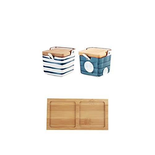 Barattolo di spezie in ceramica in stile giapponese con coperchio e cucchiaio cucina condimento bottiglia condimento scatola di immagazzinaggio della ciotola di zucchero shaker sale sale Spice Jar.