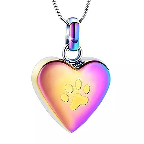 Collar de Urna de Cremación para Pet Hold Ashes Colgante Paw On My Heart Acero Inoxidable Joyería Conmemorativa
