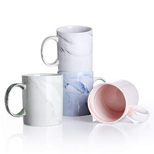 Panbado, Porzellan Kaffeetassen 4 TLG. Set, Bunte Kaffeepott, 360 ml Becher Set, Pastellfarben, Mehrfarbig, Marmor-Optik, mit henkel für Kaffee, Tee, Trinkwasser