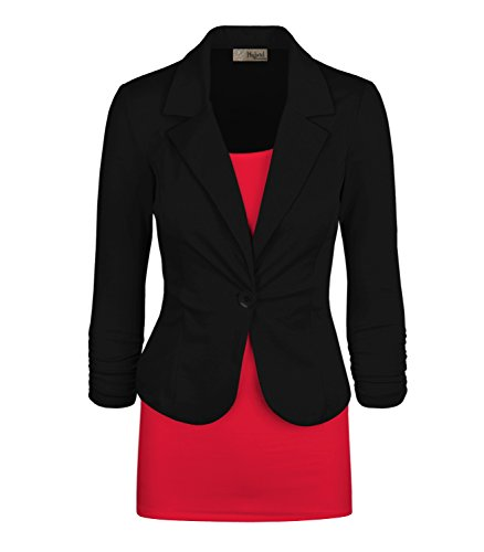 Women's Casual Work Office Blazer Jacket JK1131 Black XLarge