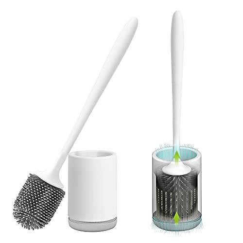 Gricol Scopini e Porta Scopini per WC in Silicone Spazzole per Bagno e Toilette Set di Spazzole Asciugatura Rapida Montaggio a Parete 2 Pezzi