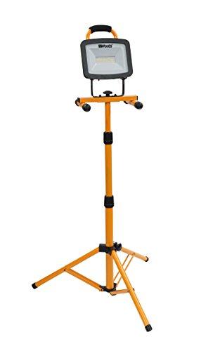 Woods WL40072S Portable Led Work Light On Steel Tripod, 6000 Lumens, 72 Watts, 4000 Kelvin, 5 Foot Cord, Orange/Black