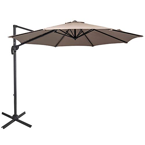 Sundale Outdoor 10ft Offset Hanging Umbrella Market Patio Umbrella Aluminum Cantilever Pole with Crank Lift, Corss Frame, Polyester Canopy, 360°Rotation, for Garden, Deck, Backyard (Taupe)