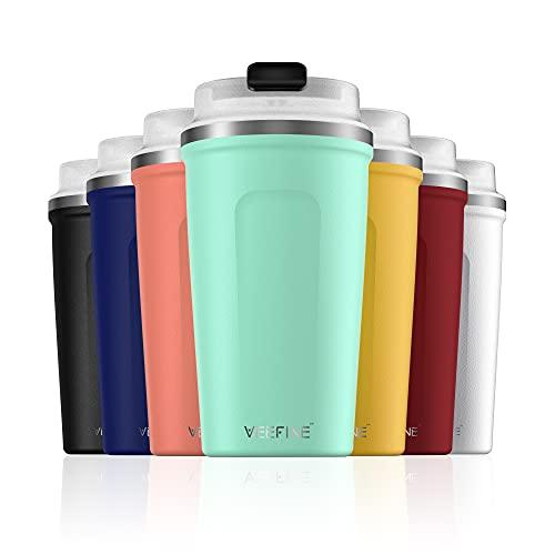 VeeFine Tumbler 12oz Dishwasher Safe BPA-Free Insulated Travel Mug for Coffee Fits Car Cup Holder, Aquamarine Green