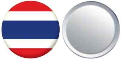MadAboutFlags Miroir insigne de bouton Thaïlande drapeau - 58mm