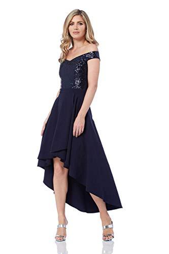 Roman Originals Damen mit Pailletten Verziertes Bardot-Kleid - Damen Abendkleider mit schulterfreiem Ausschnitt für Abschlussfeiern, Festlichkeiten und Partys - Marine-Blau - Größe 40
